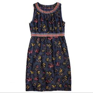 Boden Blue Floral Print Sheath Dress size 6